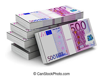 Stacks of 500 Euro banknotes - Creative abstract banking,...