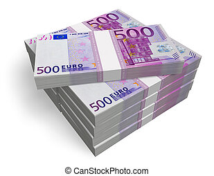 Stacks of 500 Euro banknotes isolated on white background