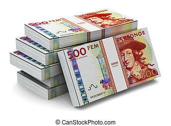 Stacks of 500 Swedish krones - Creative abstract banking,...