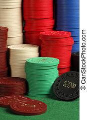 Stacks of antique poker chips