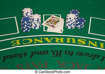 Stacks of Blue, White Poker Chips - Several stacks of blue...