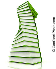 Stacks of books isolated on white background