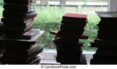 Stacks of Books Lying on a Window Sill on the Background Green Forest Outside