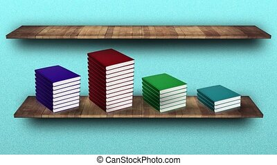 Stacks of books with bright multicolored blank hardcovers appear on wooden shelf near turquoise wall computer-generated imagery