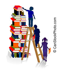 Stacks of books with children