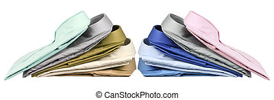 Stacks of Business Shirts on White Background