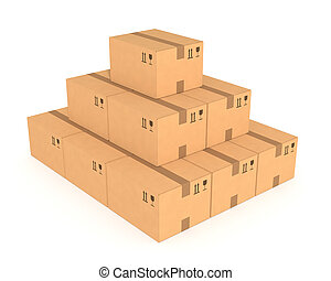 Stacks of cardboard boxes