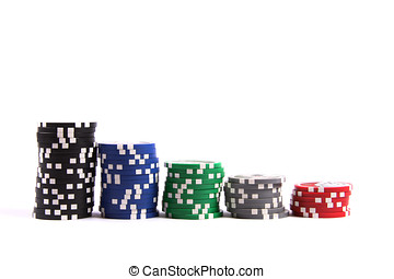 Stacks of casino poker chips isolated on white background