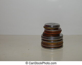 Stacks of coins on the background