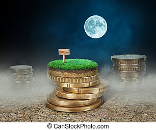 Stacks of coins with land on cracked earth at the night background. Sale of land concept.