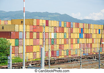 Stacks of containers at the loading port