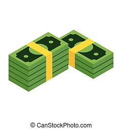 Stacks of dollars isometric 3d icon