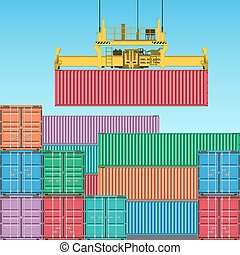 Stacks of Freight Containers at the Docks with Crane