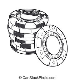 Stacks of gambling chips, casino tokens isolated on a white background. Line art. Retro design. Vector illustration.
