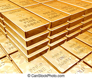 stacks of gold bars - Stacks of pure gold bars on piles of...