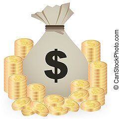 Stacks Of Gold Coins And Money Bag On White Background