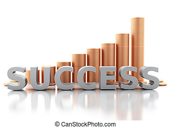Stacks of gold coins. Success concept