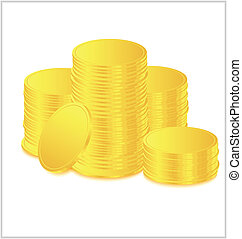 Stacks of gold coins vector illustration