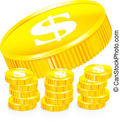 Stacks of gold coins, vector illustration on white