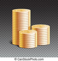 Stacks of gold coins, vector illustration.