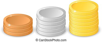 Stacks of gold, silver and bronze coins in different heights with gold the tallest in two different variants