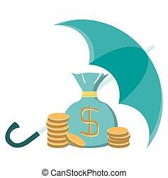 stacks of golden coins and money bag under an green umbrella