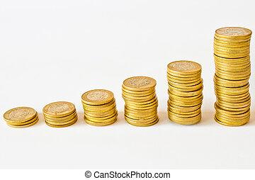 stacks of golden coins, mexican pesos money