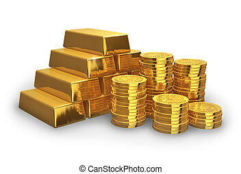 Stacks of golden ingots and coins isolated on white...