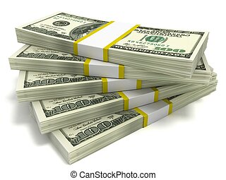 Five stacks of hundred dollar bills, close-up on a white background.