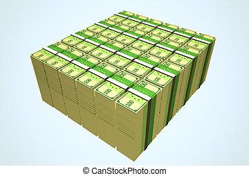 Stacks Of Hundred Euro Notes.Finances banking wealth