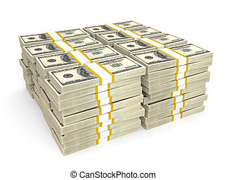 Stacks of Hundred US Dollars. 3D illustration.