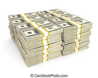 Stacks of Hundred US Dollars. 3D illustration.