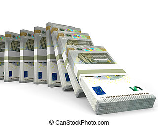 Stacks of money. Five euros.