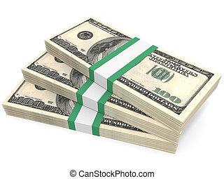 Stacks of money. One hundred dollars. 3D illustration.