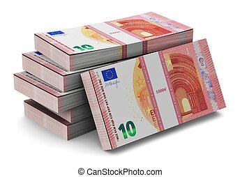 Stacks of new 10 Euro banknotes