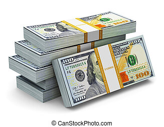 Creative abstract business, financial success and making money concept: stacks of new 100 US dollar 2013 edition banknotes or bills isolated on white background