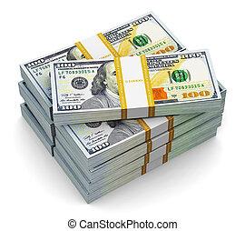 Stacks of new 100 US dollar banknotes - Creative abstract...