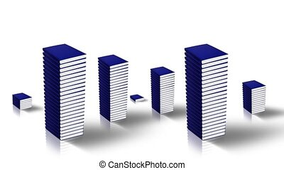 Stacks of paper notebooks with dark blue blank covers grow as buildings on white mirror surface closeup computer-generated imagery