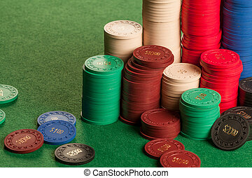 Stacks of old poker chips