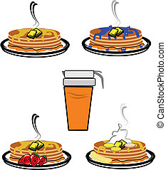 pancakes - stacks of pancakes with fruits on white in retro ...