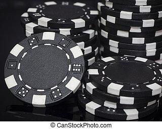 Stacks of poker chips black background