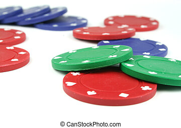 stacks of poker chips isolated overwhite
