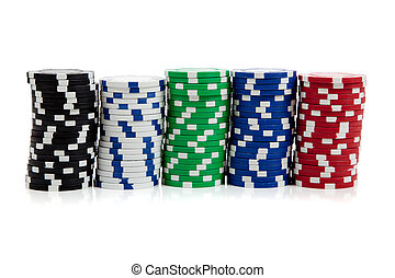 Stacks of poker chips on white - Stacks of poker chips...