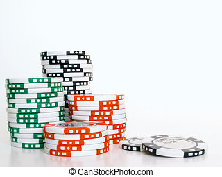 poker chips - stacks of poker chips