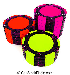 Stacks Of Poker Chips - Stacks of Poker Chips stack. 3d...