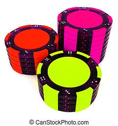 Stacks Of Poker Chips - Stacks of Poker Chips stack. 3d...