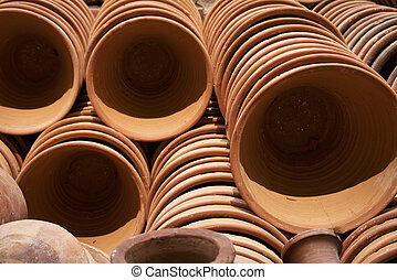 Stacks of pottery