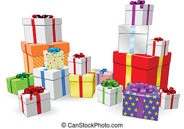 Stacks of presents concept - Lots of colorful wrapped...