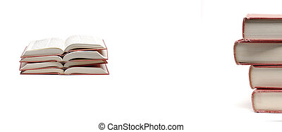 Stacks of Red Books on Table for Learing Reading School ...