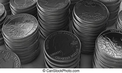 Stacks of silver coins HD
